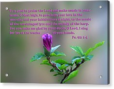 Psalms Scripture With Floral Bud Acrylic Print by Linda Phelps