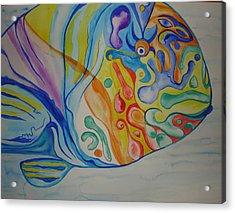 Psychedelic Parrotfish Acrylic Print by Erika Swartzkopf