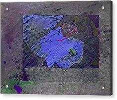 Psychowarhol Blue Acrylic Print by Charles Stuart