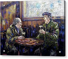 Pub Parlance Acrylic Print by John  Nolan