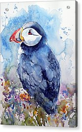 Puffin With Flowers Acrylic Print by Kovacs Anna Brigitta