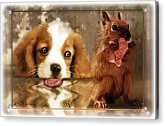 Pup And Squirrel Acrylic Print by John Breen