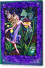 Purple And Green Fairy Acrylic Print by Genevieve Esson