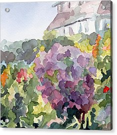 Purple Blossoms Monets Garden Watercolor Paintings Of France Acrylic Print by Beverly Brown Prints