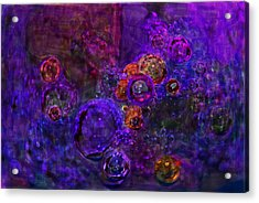 Purple Bubbles Painting Acrylic Print by Don  Wright