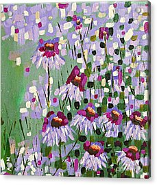 Purple Coneflowers Acrylic Print by Mary Mirabal
