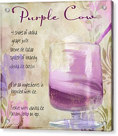 Purple Cow Mixed Cocktail Recipe Sign Acrylic Print by Mindy Sommers