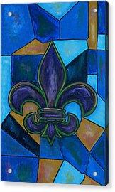 Purple Fleur De Lis Acrylic Print by Patti Schermerhorn
