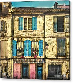 Quaint Row Houses With Colorful Shutters Acrylic Print by Amy Cicconi
