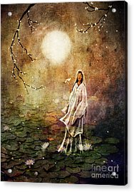 Quan Yin In A Lotus Pond Acrylic Print by Laura Iverson