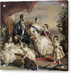 Queen Victoria And Prince Albert With Five Of The Their Children Acrylic Print by Franz Xavier