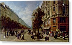 Queueing At The Door Of A Grocery Acrylic Print by Jacques Guiad