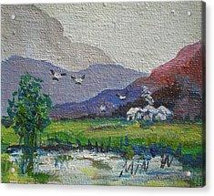 Quiet Pond Minature Acrylic Print by Min Wang