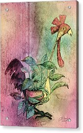 Quirky Rooster Planter Acrylic Print by Arline Wagner