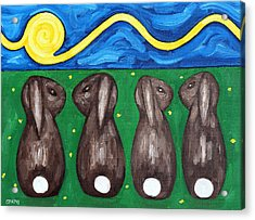Rabbits Talking Acrylic Print by Patrick J Murphy