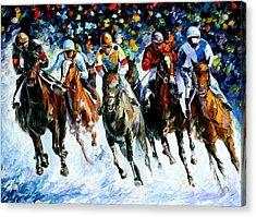 Race On The Snow Acrylic Print by Leonid Afremov