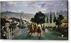 Races At Longchamp Acrylic Print by Edouard Manet