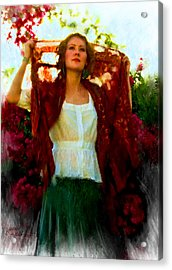Radiant In Red Acrylic Print by Jean Hildebrant