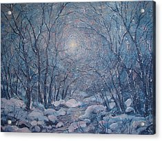 Radiant Snow Scene Acrylic Print by Leonard Holland