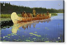 Radisson And Groseilliers Acrylic Print by Frederic Remington