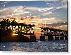 Rail Bridge At Florida Keys Acrylic Print by Elena Elisseeva