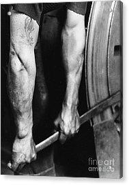 Railroad Worker Tightening Wheel Acrylic Print by LW Hine