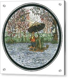 Rain Gnome Rain Circle Acrylic Print by Bill Perkins