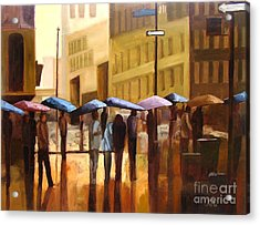 Rain In Manhattan Number Seventeen Acrylic Print by Tate Hamilton
