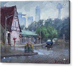 Rain In Old Falls Street Acrylic Print by Ylli Haruni