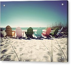 Rainbow Beach-vintage Acrylic Print by Chris Andruskiewicz