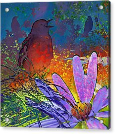 Rainbow Bird Song Acrylic Print by LeAnne Perry