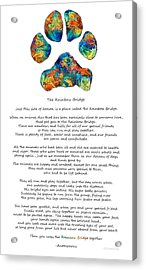 Rainbow Bridge Poem With Colorful Paw Print By Sharon Cummings Acrylic Print by Sharon Cummings