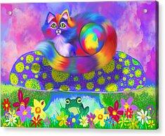 Rainbow Calico On A Mushroom Acrylic Print by Nick Gustafson