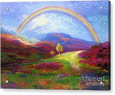 Rainbow Meadows Acrylic Print by Jane Small