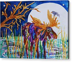 Rainbow Moose Night Grazing Acrylic Print by Ellen Levinson