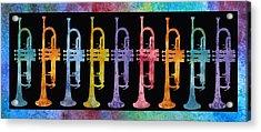Rainbow Of Trumpets Acrylic Print by Jenny Armitage