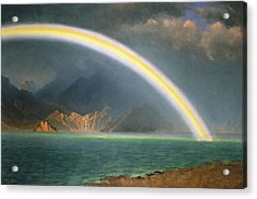 Rainbow Over Jenny Lake Wyoming Acrylic Print by Albert Bierstadt