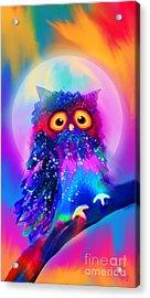 Rainbow Spotted Owl Acrylic Print by Nick Gustafson