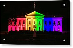 Rainbow White House Acrylic Print by Chris Montcalmo