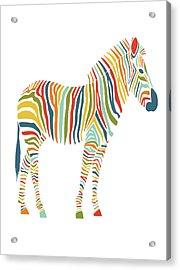Rainbow Zebra Acrylic Print by Nicole Wilson