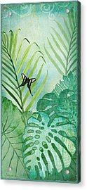 Rainforest Tropical - Philodendron Elephant Ear And Palm Leaves W Botanical Butterfly Acrylic Print by Audrey Jeanne Roberts