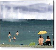 Rainy Beach Acrylic Print by Arline Wagner