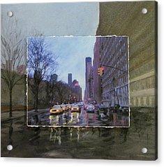 Rainy City Street Layered Acrylic Print by Anita Burgermeister