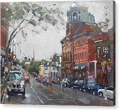 Rainy Day In Downtown Brampton On Acrylic Print by Ylli Haruni