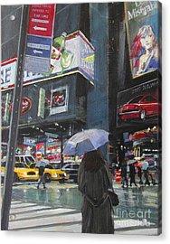 Rainy Day In Times Square Acrylic Print by Patti Mollica