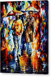Rainy Encounter - Palette Knife Oil Painting On Canvas By Leonid Afremov Acrylic Print by Leonid Afremov