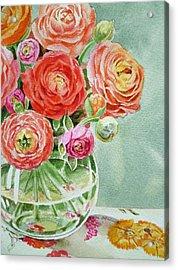 Ranunculus In The Glass Vase Acrylic Print by Irina Sztukowski