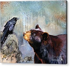 Raven And The Bear Acrylic Print by J W Baker