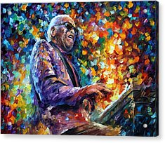 Ray Charles 2 - Palette Knife Oil Painting On Canvas By Leonid Afremov Acrylic Print by Leonid Afremov