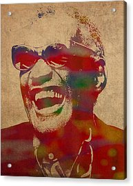 Ray Charles Watercolor Portrait On Worn Distressed Canvas Acrylic Print by Design Turnpike